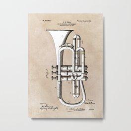 patent Conn Valve Musical Instrument 1901 Metal Print