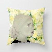 emily rickard Throw Pillows featuring Emily by Teri Martin