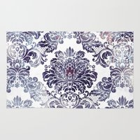 damask Area & Throw Rugs featuring Blueberry Damask by Dena Brender Photography