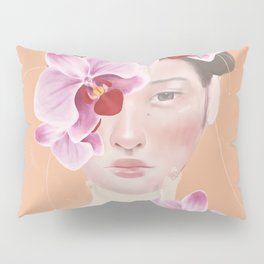 Girl Orchid Flower Pillow Sham
