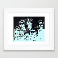 velvet underground Framed Art Prints featuring Velvet Underground with Andy Warhol in Space by June Chang Studio