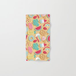 Epic pool floats top view // sand background Hand & Bath Towel