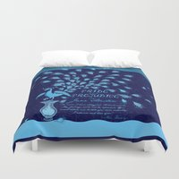 pride and prejudice Duvet Covers featuring Paisley Peacock Pride and Prejudice: Classic by DoodleHeadDee