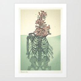 Skull & Flowers Art Print