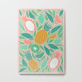 Summer Fruit on Pink Metal Print