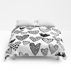 Hearts black and white hand drawn minimal love valentines day pattern gifts decor Comforters