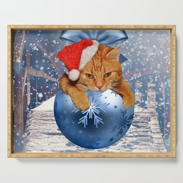 Christmas Cat Serving Tray