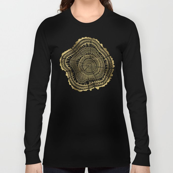 Gold Tree Rings Long Sleeve T-shirt