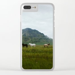 Icelandic Horses Posing for a Photo Clear iPhone Case