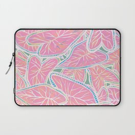 Tropical Caladium Leaves Pattern - Pink Laptop Sleeve