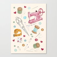 sewing Canvas Prints featuring Sewing by Epoque Graphics