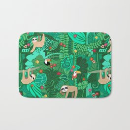 Sloths in the Emerald Jungle Pattern Bath Mat