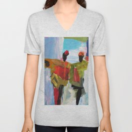 People Figure the World Abstract Art Contemporary Blue Red Green Black Sky Unisex V-Neck