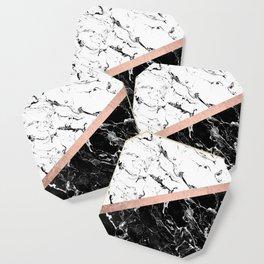 Modern black white marble color block rose gold Coaster