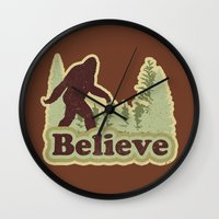 bigfoot Wall Clocks featuring Bigfoot Believe by Heather Green