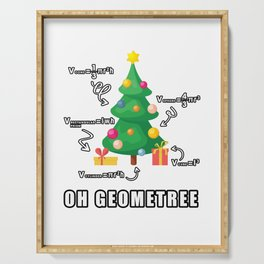Funny Math Geometry Christmas Tree Geometree Teacher Gift Serving Tray