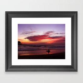 California Beach Sunset Framed Art Print