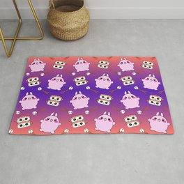 Cute funny Kawaii chibi little pink baby bunnies, happy sweet cheerful sushi with shrimp on top, rice balls and chopsticks colorful purple and orange pattern design. Rug
