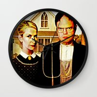office Wall Clocks featuring Dwight Schrute & Angela Martin (The Office: American Gothic) by Silvio Ledbetter