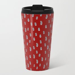 Seamless hand drawn pattern with silver dabs of a brush on red background Travel Mug