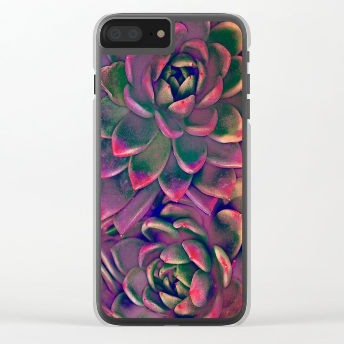 Green & violet succulent Clear iPhone Case