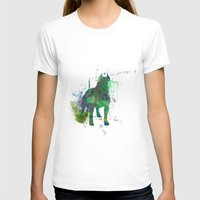 pitbull T-shirts featuring Green Pitbull by Candice Boux