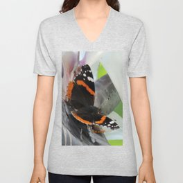Red Admiral on a White Bird of Paradise Bloom Unisex V-Neck