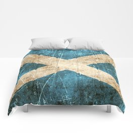 Vintage Aged and Scratched Scottish Flag Comforters