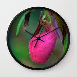 New England Wild Lady Slipper Orchid Flower Wall Clock