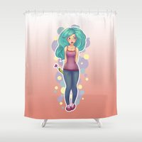 polka Shower Curtains featuring Polka by Jessica May