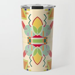Abstract artistic geometric seamless pattern. Colorful design. Colored geometric shapes, figures. Modern art background Travel Mug
