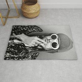 Kurt Cobai-n print, Kurt Cobai-n Poster, Kurt Cobai-n smoking poster, rock music legends poster, Nirvana art poster, iconic grunge portraits Rug