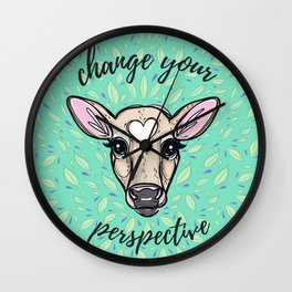 Change Your Perspective Tan Baby Cow Wall Clock