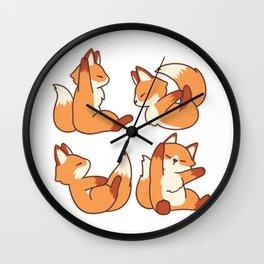 Yoga Poses Fox, Funny T Shirt, Trendy Shirt, Yoga Lover, Baby Fox, Cute Fox, Graphic Tees Wall Clock