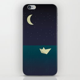 paper boat in the moonlight iPhone Skin