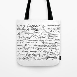 Famous Autographs of the late 1800s Tote Bag