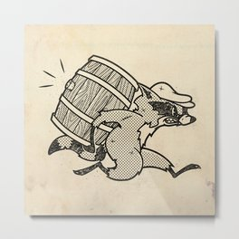THE  WHISKEY SMUGGLER - vintage cartoon 80's Metal Print