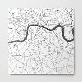London White on Gray Street Map Metal Print
