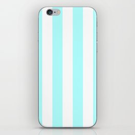 Vertical Stripes - White and Celeste Cyan iPhone Skin