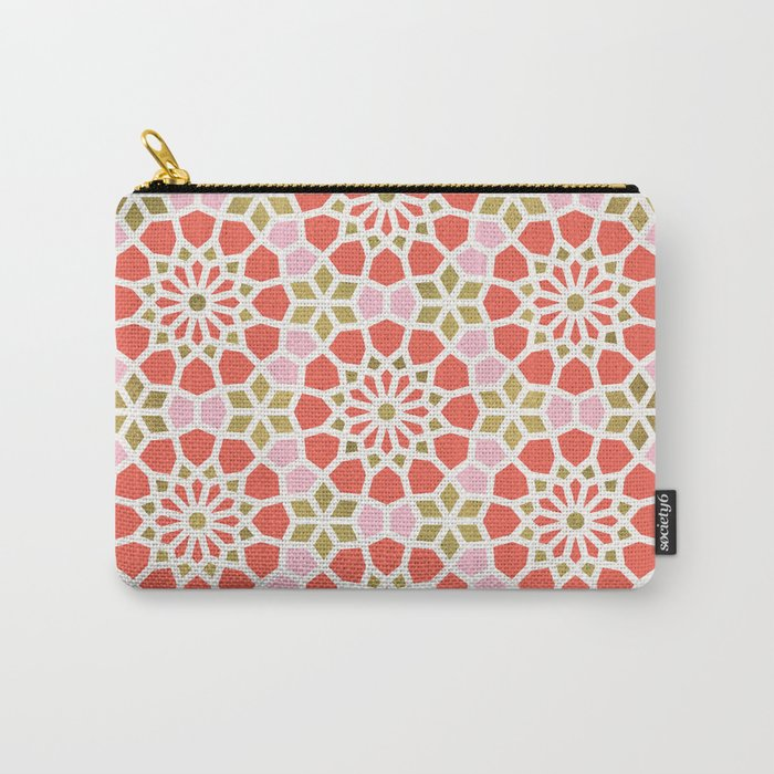 Persian Mosaic – Coral & Gold Palette Carry-All Pouch