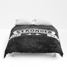 Stronger Every Day (dumbbell, black & white) Comforters