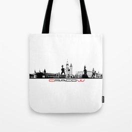 Cracow skyline black Tote Bag