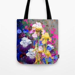 PINK-YELLOW PURPLE IRIS GARDEN GREY ART Tote Bag