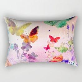 Blush Butterflies & Flowers Rectangular Pillow