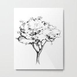 Black and White Tree Drawing Metal Print