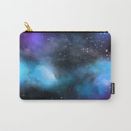 Navy Blue & Purple Glitter Cosmo Watercolor Galaxy Painting Carry-All Pouch