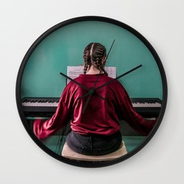 Young pianist Wall Clock