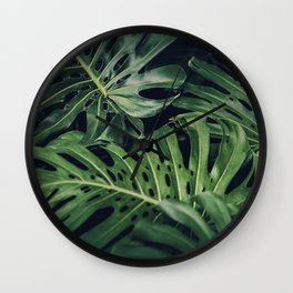 Tropical Monstera Leaves Wall Clock