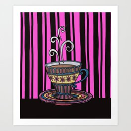 Glitter Tea Cup on pink and black stripes Art Print