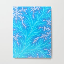 Abstract Aqua Blue Christmas Tree Branch with White Snowflakes Metal Print